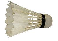 Воланы для бадминтона с натуральной перьевой юбкой -- 12 шт.