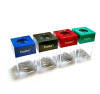 Подставка для скрепок, 41x68x12мм, магнитная, квадратная+ скрепки, Foska