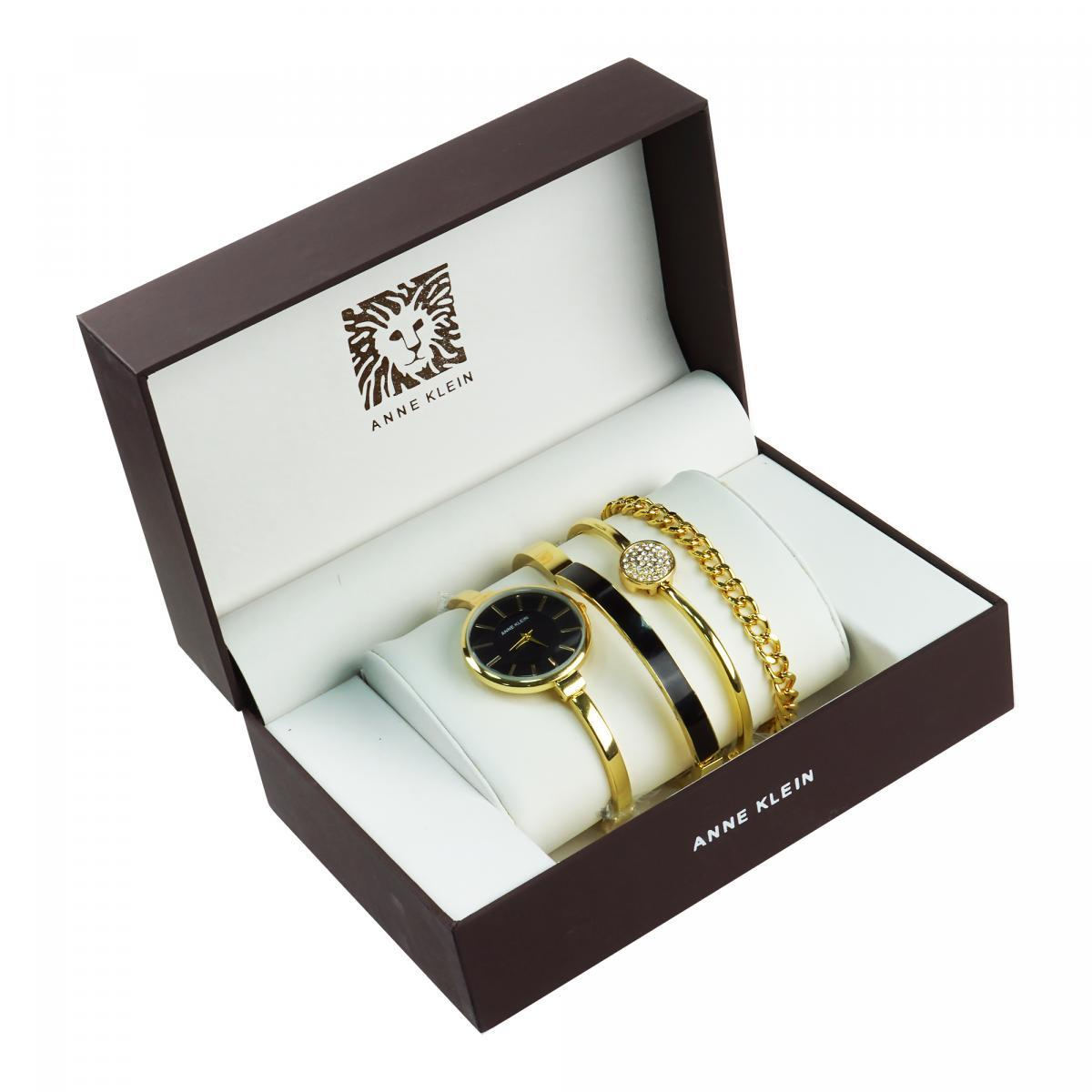 Уценка (товар с небольшим дефектом) Часы в подарочной упаковке Anne Klein золотистый + черный