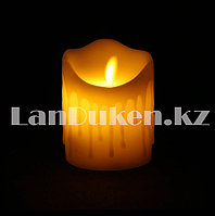 LED свеча задуваемая на батарейках с подтеками 7.5х10 см маленькая