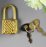 Замочек с ключиком для шкатулки металл набор 5 шт С286 золото 3,1х1,7 см