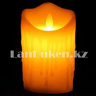 LED свеча задуваемая на батарейках с подтеками 7.5х12.5 см средняя