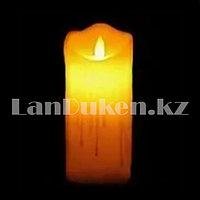 LED свеча задуваемая на батарейках с подтеками 7.5х15 см большая