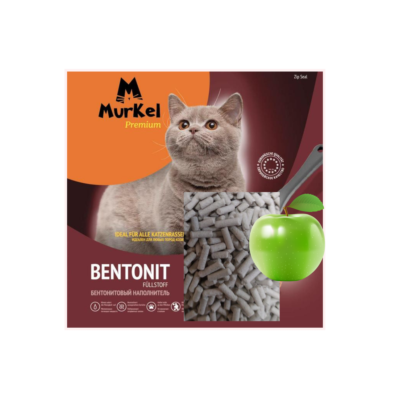 С ароматом яблока, 5л.,Элита комкующийся бентонитовый наполнитель Murkel