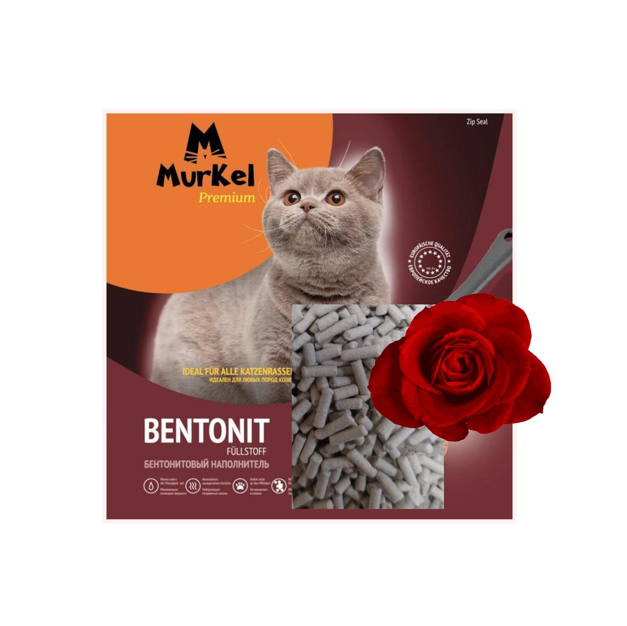 С ароматом розы, 10л.,Элита комкующийся бентонитовый наполнитель Murkel