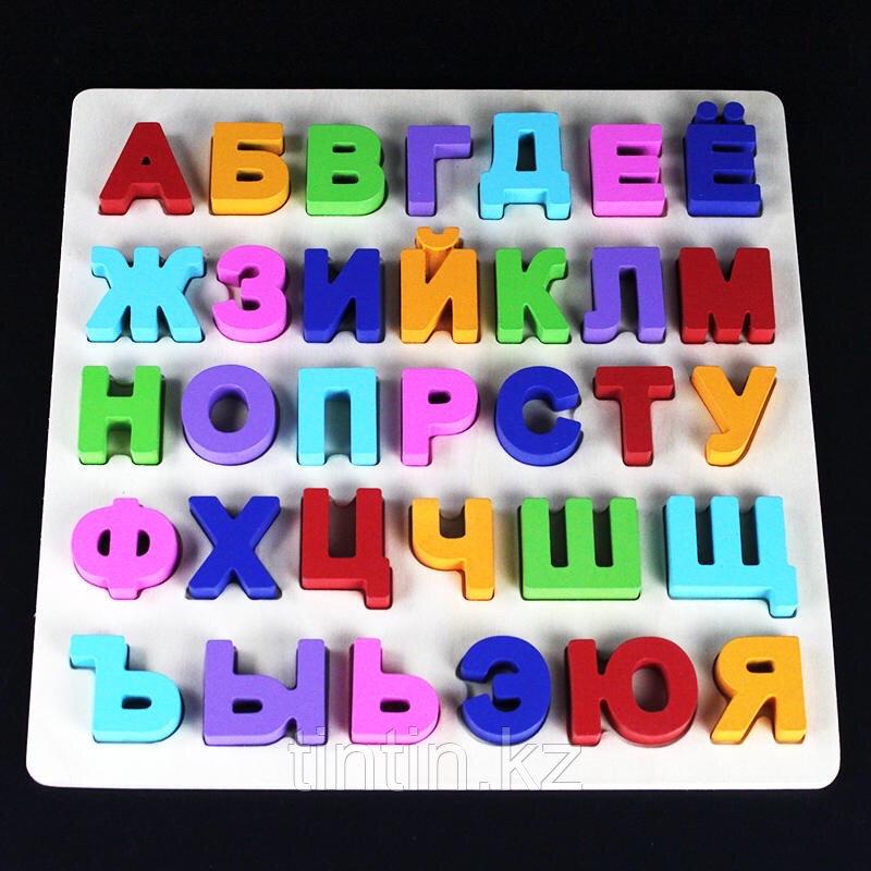 Деревянная рамка-вкладыш с русским алфавитом, 30х30 см