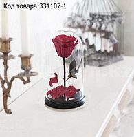 Роза в колбе долговечная из сказки Красавица и Чудовище маленькая высота 18 см