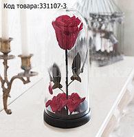 Роза в колбе долговечная из сказки Красавица и Чудовище маленькая высота 27 см