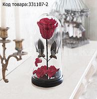 Роза в колбе долговечная из сказки Красавица и Чудовище маленькая высота 22 см