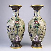 Парные вазы «Бамбук» Китай. Середина ХХ века