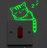 """Светящаяся наклейка """"Котик"""" на выключатели"""