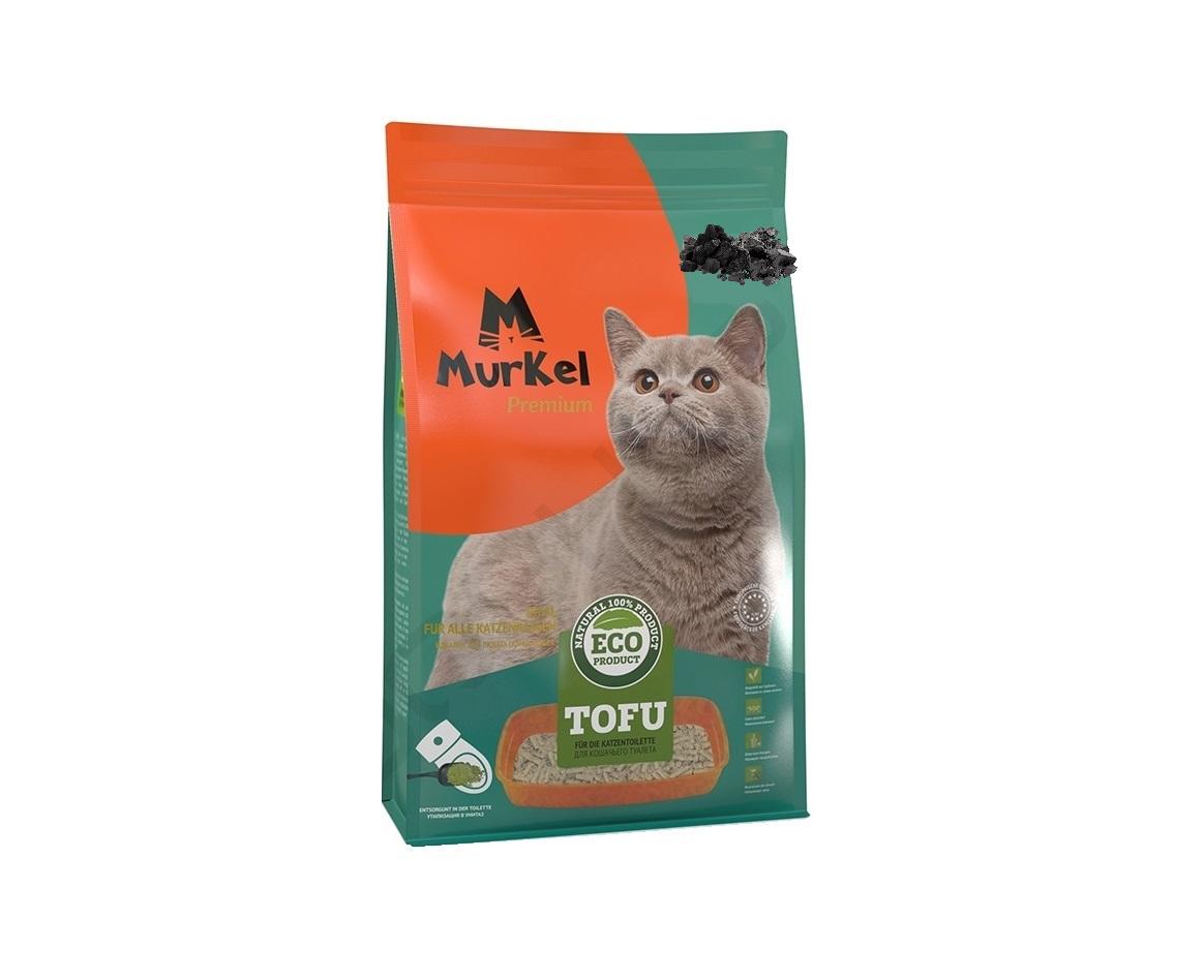 С активированным углем, 6л., тофу комкующийся соевый наполнитель Murkel