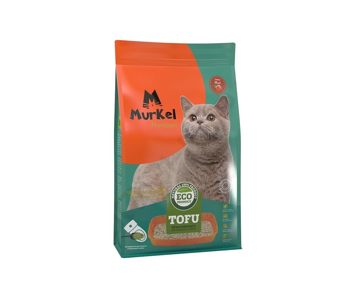 С ароматом персика, 6л., тофу комкующийся соевый наполнитель Murkel