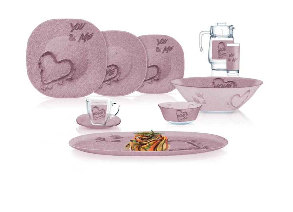 Столовый сервиз Luminarc Carine You&Me Pink 69 пр. на 12 персон