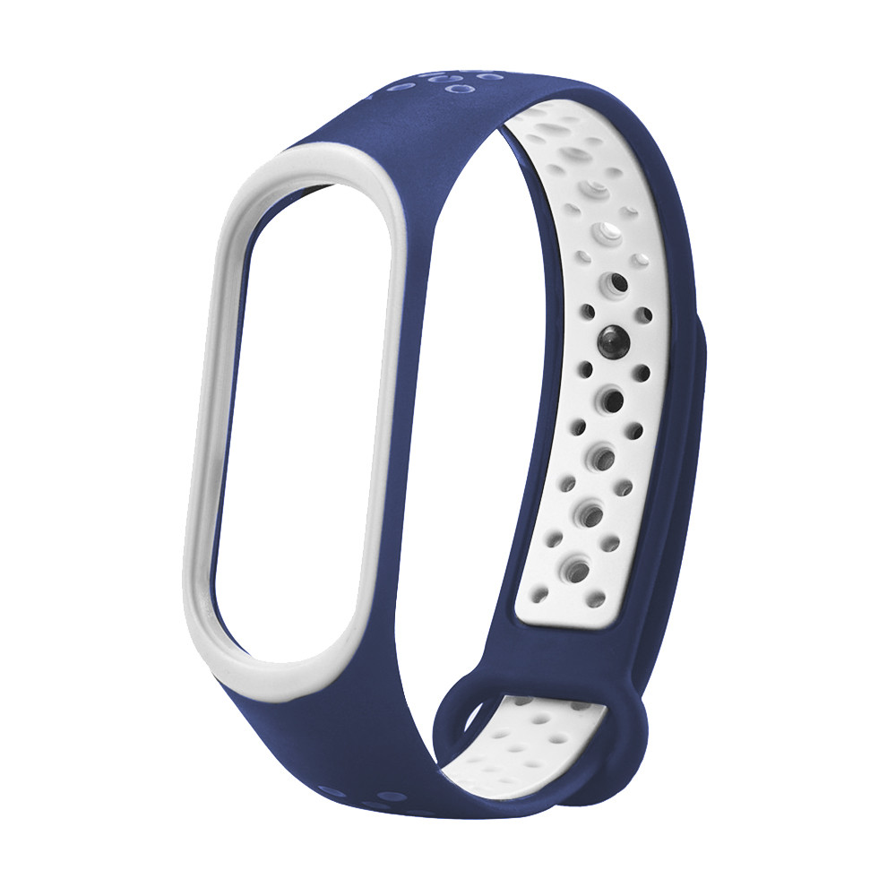Ремешок для смарт-браслетов Xiaomi Mi Band 3/Mi Band 4, sports series silicone, Copy, Blue/White