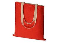 Сумка для шопинга Twin двухцветная из хлопка, 180 г/м2, красный/натуральный
