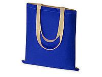 Сумка для шопинга Twin двухцветная из хлопка, 180 г/м2, синий/натуральный