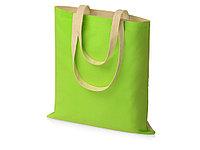 Сумка для шопинга Twin двухцветная из хлопка, 180 г/м2, зеленое яблоко/натуральный