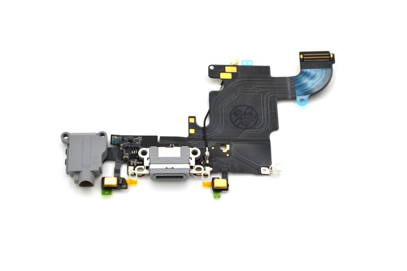Шлейф Apple iPhone 6S с коннектором заряда и разъемом гарнитуры Gray (50)