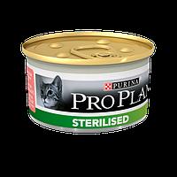 Pro Plan Sterilised Консервы Purina Pro Plan для стерилизованных кошек и кастрированных котов, лосось и тунец,