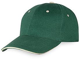 Бейсболка New Castle 6-ти панельная, зеленый/натуральный