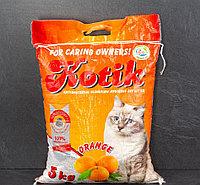 """""""Котик""""наполнитель антибактериальный комкующийся с апельсином 5 кг."""