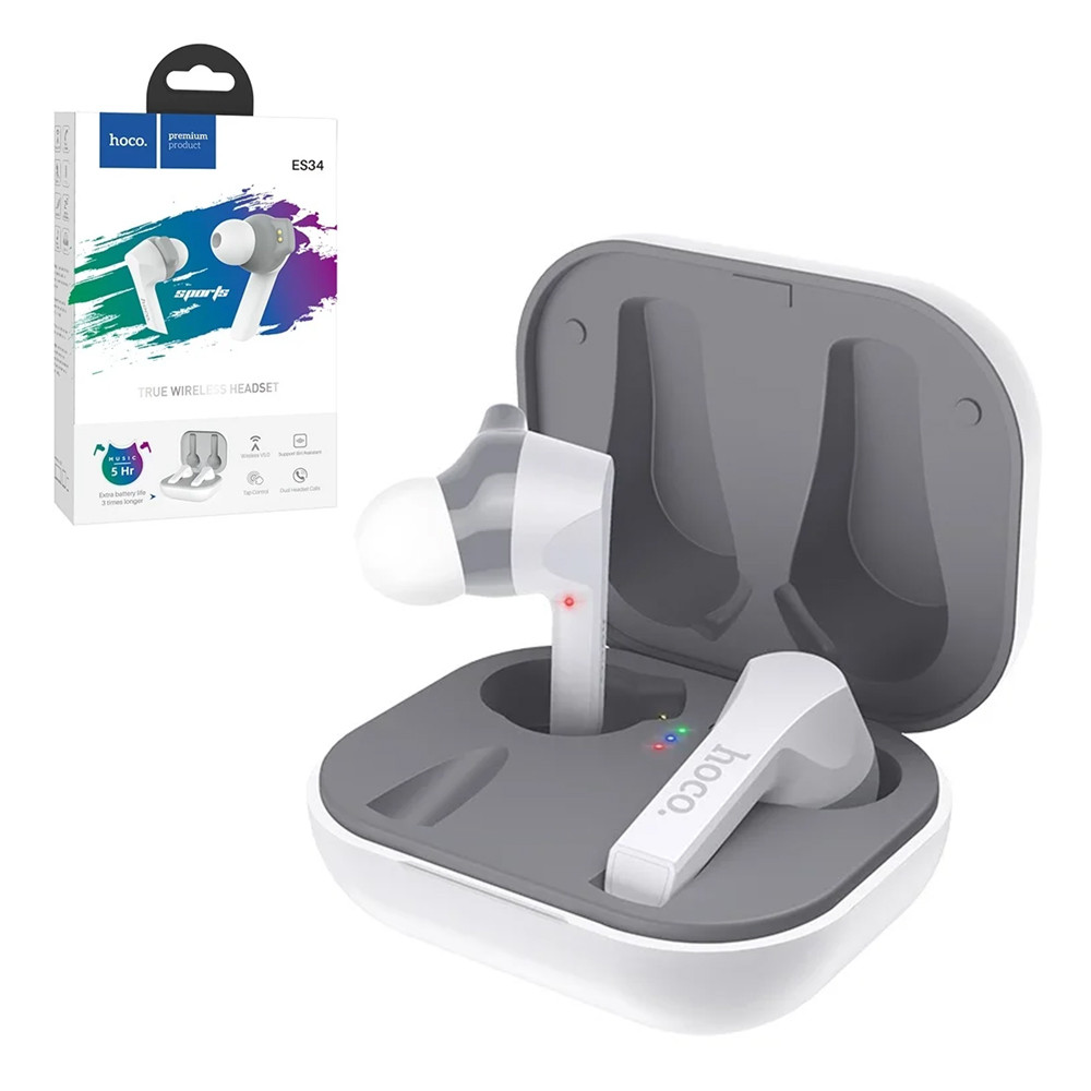 Bluetooth гарнитура Hoco ES34 True Wireless Sports, White