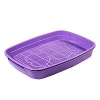"""Туалет для кошек с сеткой малый """"Леопольд"""", фиолетовый, 340*260*50мм АРТ 20432009"""
