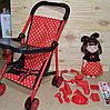 CS5822-2 Коляска прогулочная со столиком в горошек и кукла с мед набором  67*25