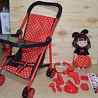 CS5822-2 Коляска прогулочная со столиком в горошек и кукла с мед набором  67*25, фото 1
