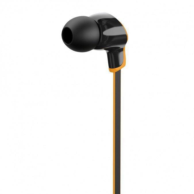 """Наушники-вкладыши проводные OLMIO """"Ultra"""", пластик, черно-оранжевые, плоский черный кабель с оранжевым кантом,"""