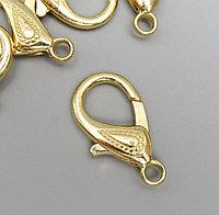Основа для брелока карабин металл золото набор 10шт 1,5х3 см