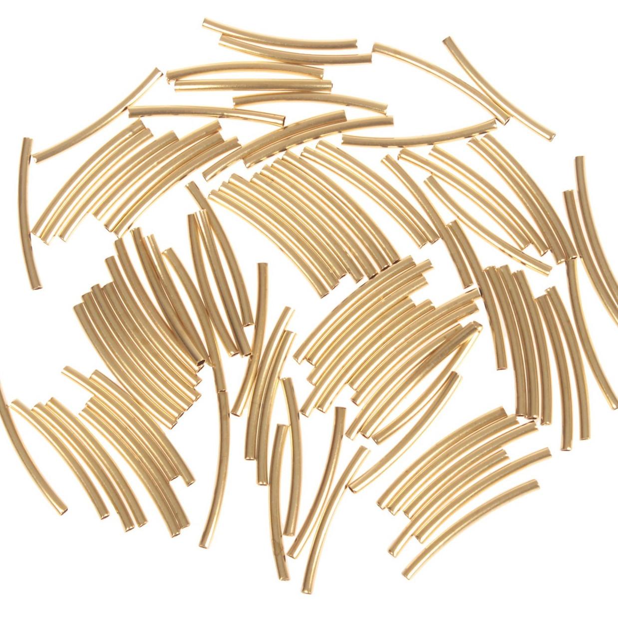 "Декор для творчества металл ""Изогнутая трубка"" набор 90 шт 2,5х0,2 см"
