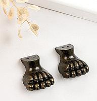 "Уголок (ножка) для шкатулки ""Лапа"" набор 2 шт бронза 3х1,7 см"