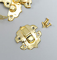 Замок металл для шкатулки золото + гвозд. набор 10 шт 2,9х3 см