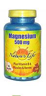 Магний 500 мг + Витамин В6 100 капсул.  Nature's Life