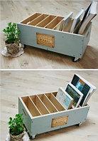 Ящик для хранения книг / деревянный на колесах B-005