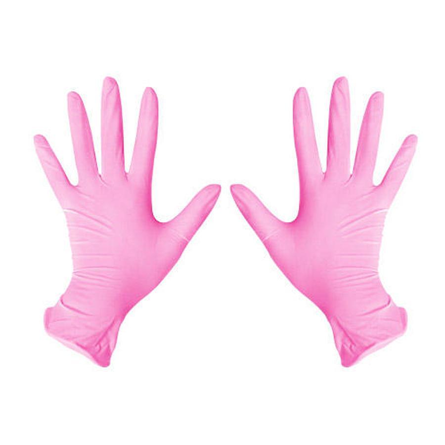 UNEX Перчатки нитрил смотровые, нестерильные розовые 50 пар размеры  XS