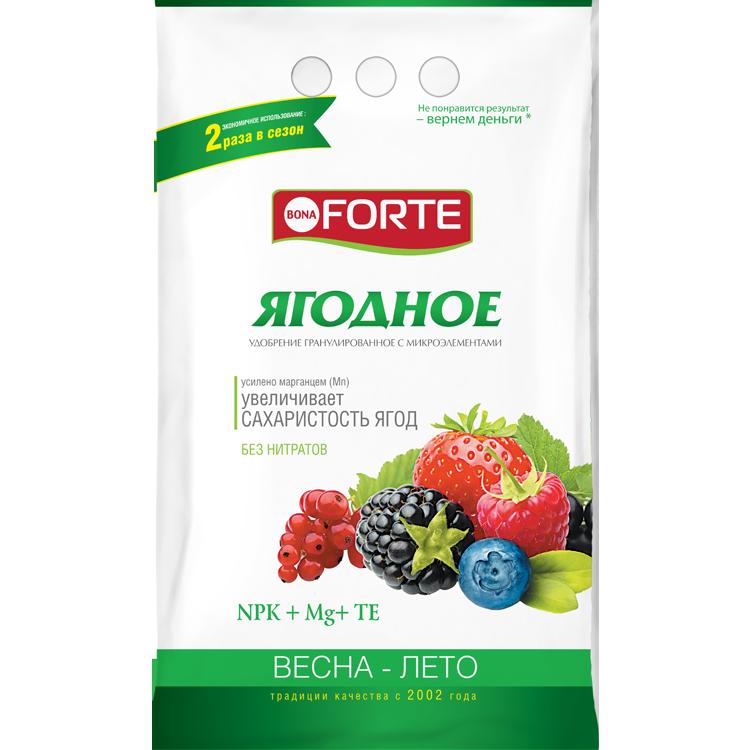 Bona Forte Удобрение комплексное гранулированное с микроэлементами Ягодное, пакет 2,5 кг/ 10