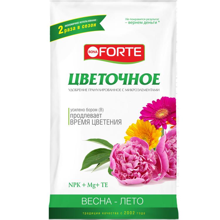 Bona Forte Удобрение комплексное гранулированное с микроэлементами Цветочное, пакет 1 кг/ 25