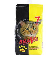 Для короткошерстных кошек и котят, 7л., впитывающий минеральный наполнитель Brava