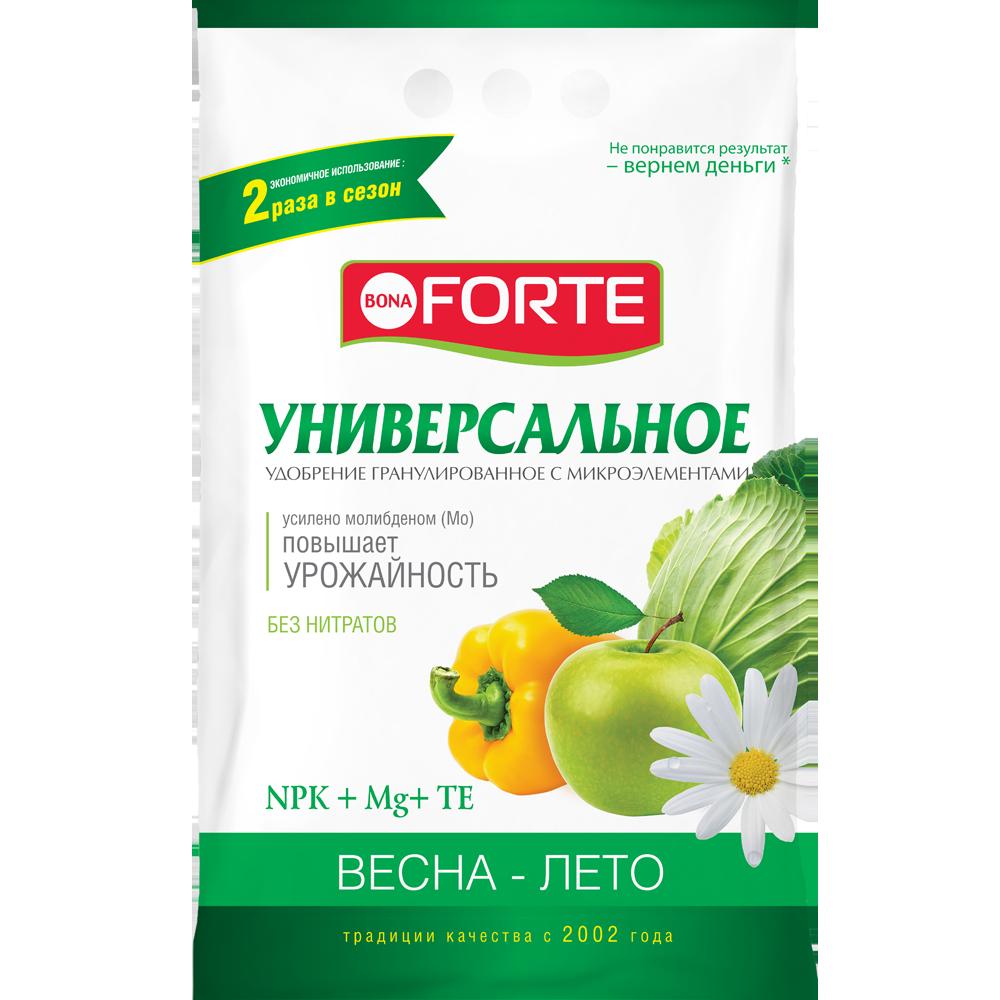 Bona Forte Удобрение комплексное гранулированное с микроэлементами Универсальное (весна), пакет 4,5 кг/ 5