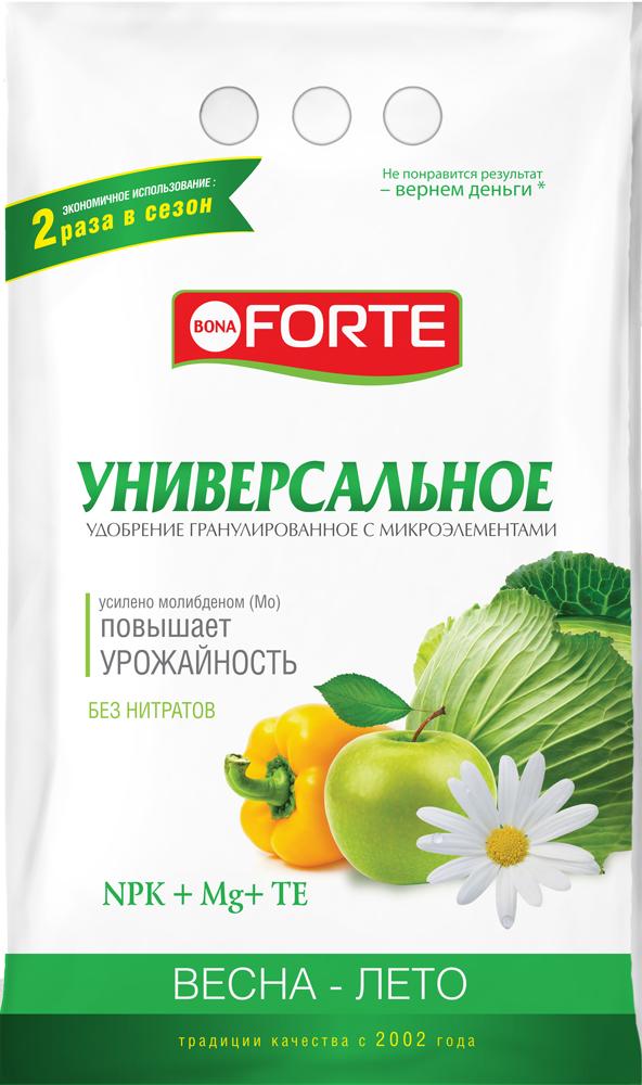 Bona Forte Удобрение комплексное гранулированное с микроэлементами Универсальное весна-лето, пакет 1 кг/ 25