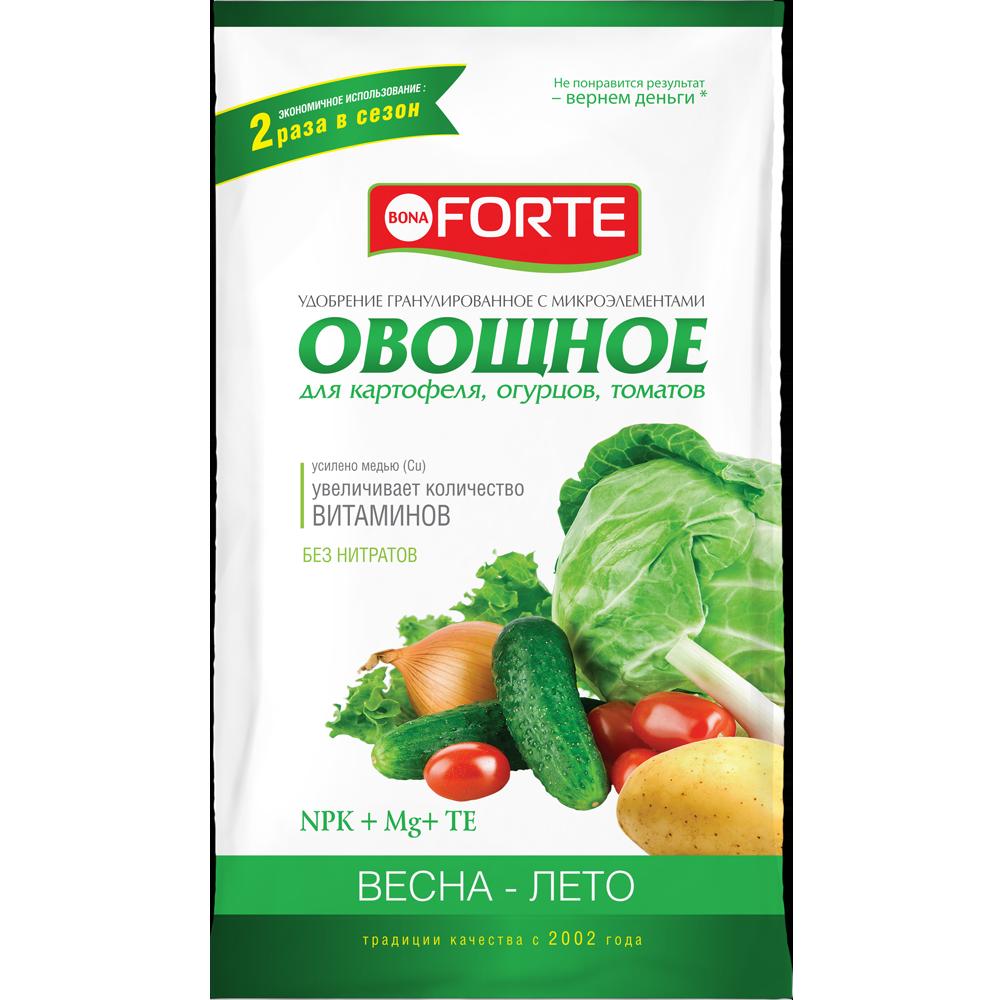 Bona Forte Удобрение комплексное гранулированное с микроэлементами Овощное, пакет 1 кг/ 25