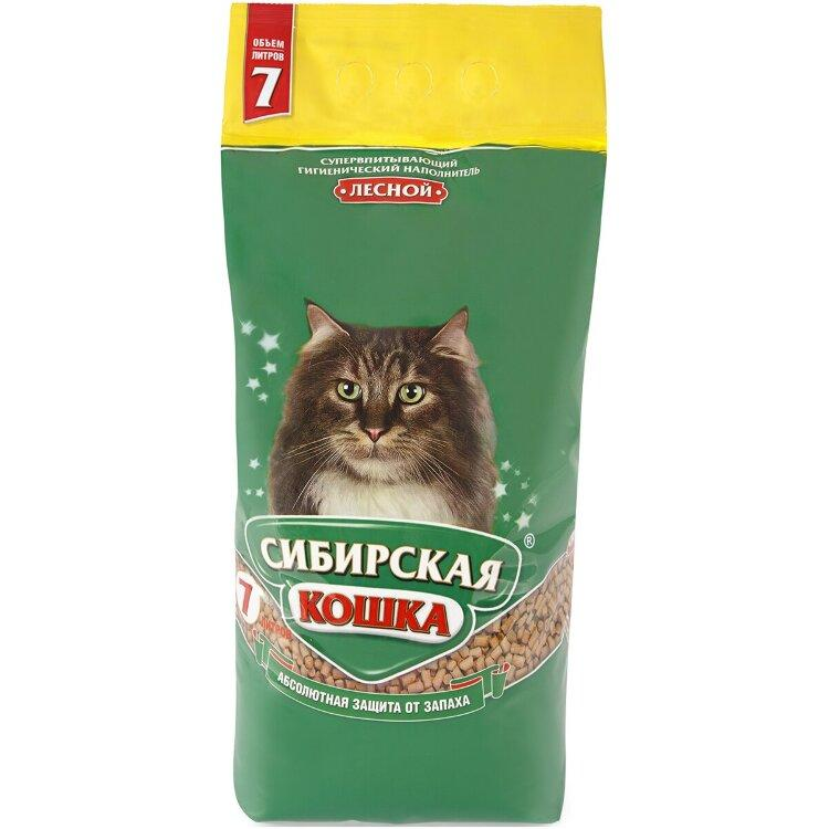 Лесной, 7л., древесный впитывающий наполнитель Сибирская Кошка