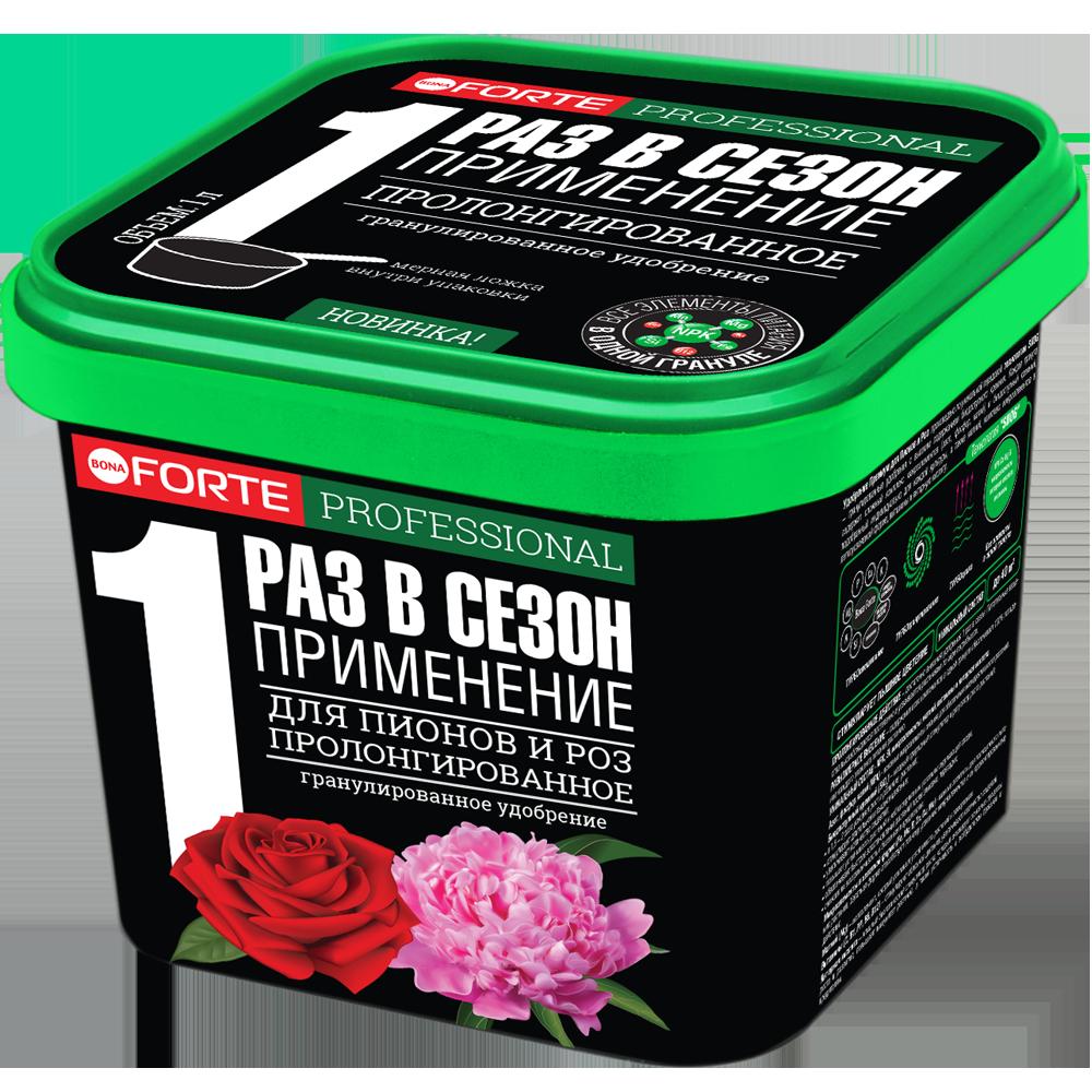 Bona Forte Удобрение гранулированное пролонгированное Для пионов и роз с биодоступным кремнием, ведро 1 л/ 12