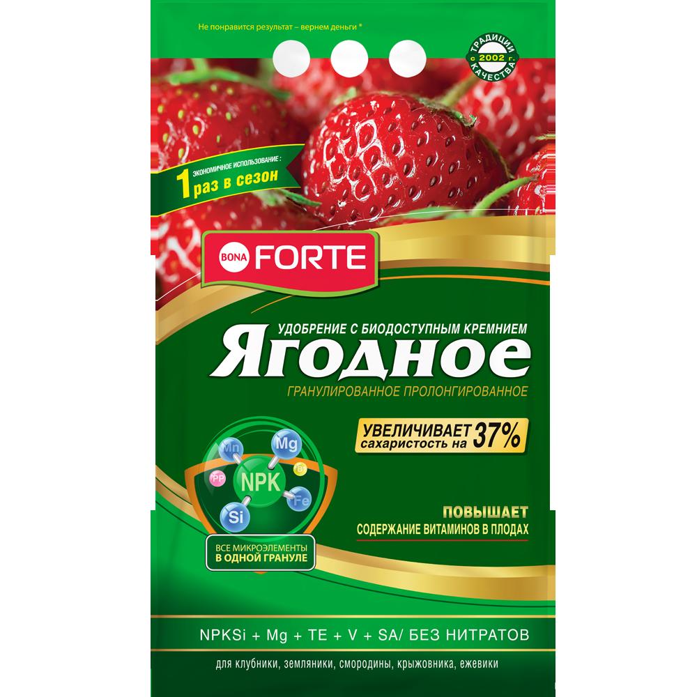 Bona Forte Удобрение гранулированное пролонгированное Ягодное с биодоступным кремнием, пакет 2,5 кг/ 10
