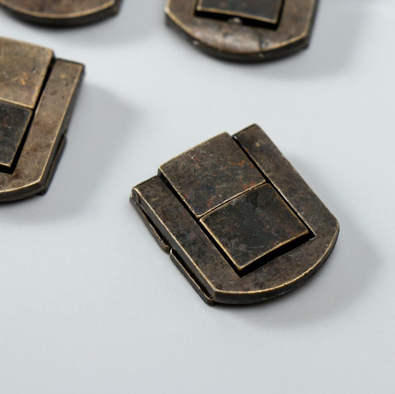 "Замок металл для шкатулки ""Стиль"" бронза 2,5х2 см (набор 4 шт)"
