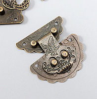 "Замок металл для шкатулки ""Цветок"" бронза набор 2 шт 2,7х2,7 см"