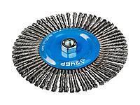 Щетка крацовка дисковая для УШМ ЗУБР 35192-175_z01, ЭКСПЕРТ, плетеные пучки стальной проволоки 0,5 мм, 175 мм